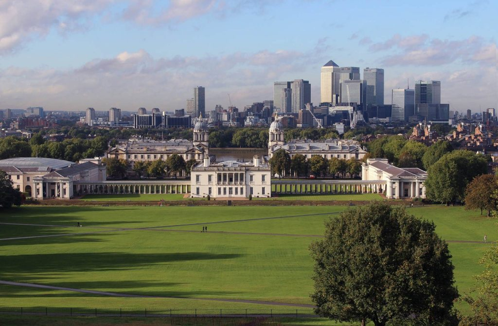 A view of Canary Wharf from the Greenwich Park, London
